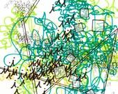 "Passing Time 15, tiny, original, handmade drawing, 4"" x 4"""