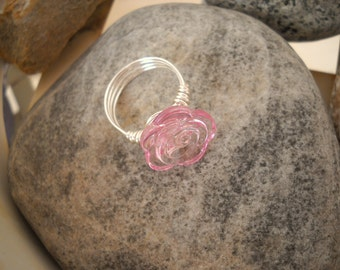 Pink Rosette Button Wire Wrapped Ring