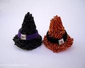 Halloween hair pins - Mini cute black orange shiny glitter witch hat fun girl jeweled embellish decorative hair accessories TREASURY ITEM