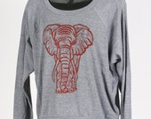 Elephant on Heather Grey Tri Blend Women's American Apparel Pullover S, M, L