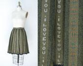 1960s Wool Skirt / 60s Novelty Print Skirt