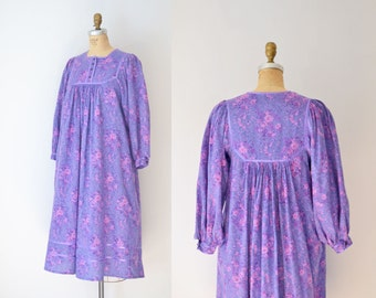 1980s Floral Dress / 80s Indian Cotton Dress