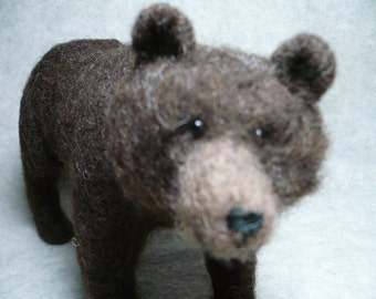 Grizzly Bear Needle Felted One of a Kind, Black Bear Cousin