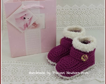 Knitted Baby Booties - Baby Girls Booties - Handmade Snug Bootees - 0-3 Months, 3-6 Months, 6-9 Months, Raspberry & Cream - Baby Gift