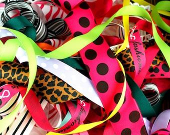 50 Yard GRAB BAG - Grosgrain Ribbon Assortment Scraps OVER 1 yard in all sizes and colors