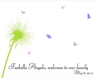 Baby Shower Fingerprint Tree, Baby Shower Guestbook with dandelion and butterflies - Custom color, size, text - DIGITAL PRINTABLE JPEG