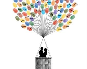 Wedding Guest Book Hot Air Balloons, Personalized Fingerprint Signature Wedding Guestbook, Guest Book Alternative - DIGITAL PRINTABLE JPEG