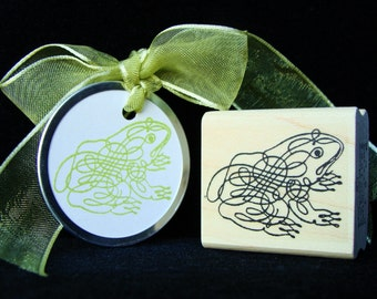 """pictureshow rubber stamp """"calligraphy frog"""""""