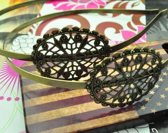 Antique bronze Headband 4Pcs hair Headbands hairbands with filigree Oval flower 5mm