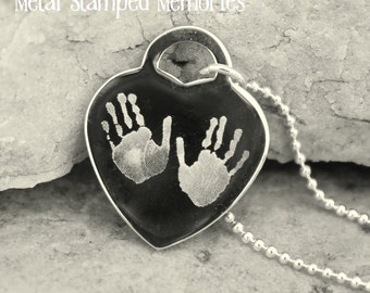 Custom Engraved HAND or FOOTPRINTS on HEART Pendant Necklace
