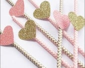 Pink & Gold, Chevron Paper Party Straws, Glitter Hearts, Wedding Decor, Bridal Shower Supply, Girls Birthday Party, Sweet Sixteen, Set Of 24