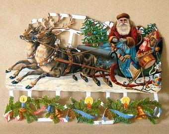 Victorian Christmas Santa's Sleigh Die Cut Sheets German Embossed