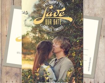 Save-The-Date Card, Save The Date Postcard, Save The Date Magnet - Vintage Circle