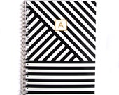 Personalized Notebook - Multi Diagonal Stripe - Choose your own Monogram
