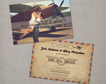 """Save the Date Card, Save the Dates, Vintage Save the Date Card, Airmail Save the Date Card - the """"Hillary 2"""""""