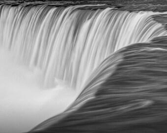 Niagara Horseshoe Falls Close up in Black and White No.85  A Ontario Canada Fine Art Nature Wall Decor Photograph