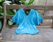 Thai Simply Loose Fit Cotton V Blouse - Sky Blue