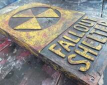 Fallout Shelter, Radioactive wall art, warning sign, wooden wall hanging. 3d wall art, MADE TO ORDER