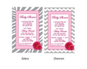 Gerber Daisy Baby Shower Invitation - Zebra, Chevron, or Any Other Background - You Print