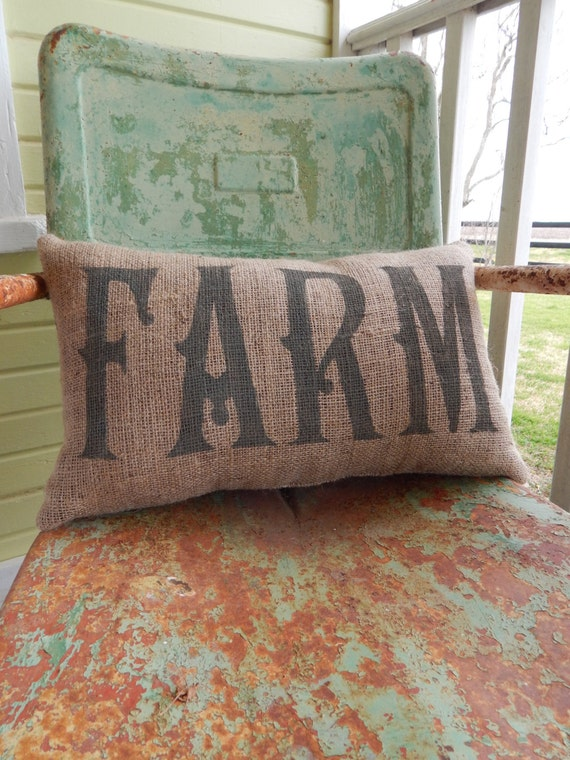 Burlap Throw Pillows Etsy : Painted Burlap FARM Throw Accent Pillow Custom by TakeFlyteFarm