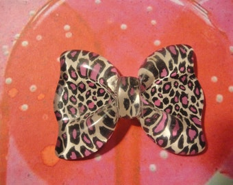 Kawaii leopard print big bow decoden phone deco diy charm  B---USA seller