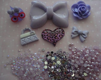 Kawaii decoden phone deco diy charm purple bow cabochon kit C 500--USA seller
