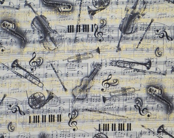 Black and Natural with Gold All that Jazz Print Pure Cotton Fabric--One Yard