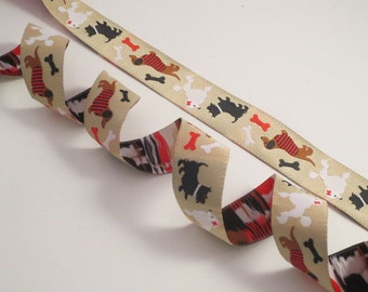 Dogs and Bones on Beige Polyester Jacquard Ribbon--One Yard
