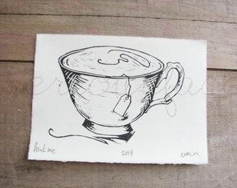 Drink Me - Original Art - Linocut Print - Tea Cup