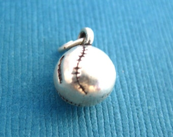 Sterling Silver Baseball  Pendant or Charm