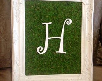 Framed Moss with Initial