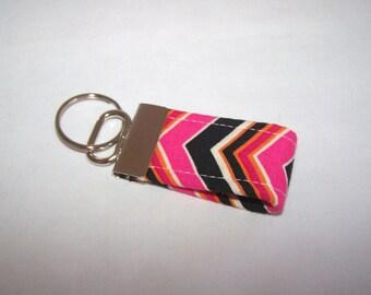 FREE SHIPPING ---- MINI Key Fob ---- Pink Black Orange Chevron