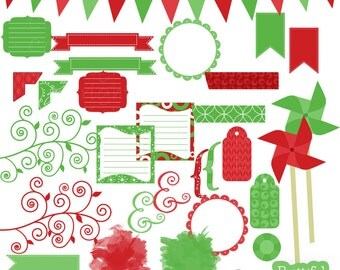 Christmas Clip Art Frames Journal Spots Pinwhells Tags Washi Tape - Eggnog