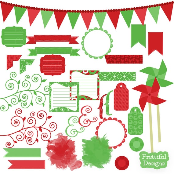 50% OFF SALE Christmas Clip Art Frames Journal Spots Pinwhells Tags Washi Tape - Eggnog (780)