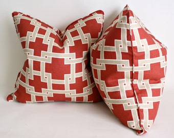 Pair of Two Kravet CitySquare in WoodRose Decorative Pillow Covers, Throw Pillows, Cushion Covers