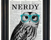 BOGO SALE Owl Print Owl with Teal Glasses Nerdy Owl Print Owl Decor Owl Head Dictionary Book Page Print HHP Original Owl with Black Glasses