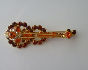 D&E Juliana topaz and amber violin figural brooch pin.