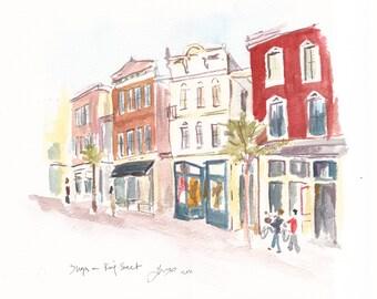 King Street Shops, Charleston - print from an original watercolor