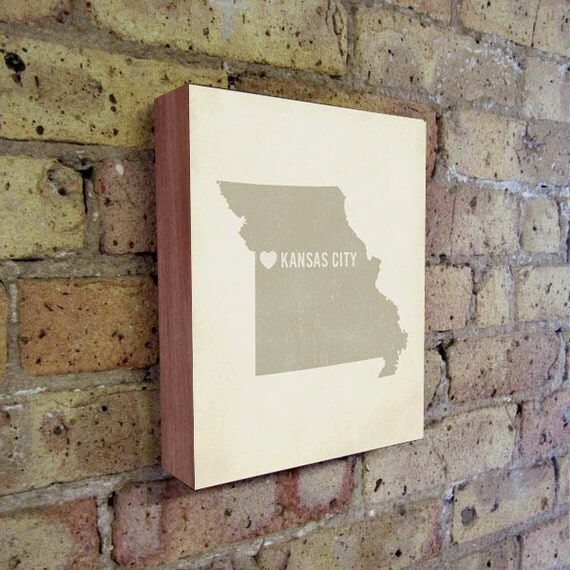 Kansas City Art Print - Kansas City - Kansas City Art - Kansas City Missouri - I Love Kansas City - Wood Block Art Print