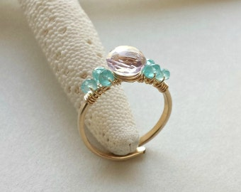 Adjustable Amethyst Ring, Size 8, Lavender Aqua Gemstone, Gold Wire Ring, Apatite, Pink Amethyst:  Ready to Ship