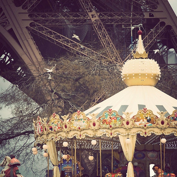 Paris Photography, Vintage Look Photo, Eiffel Tower Carousel, Paris Wall Art 5x5 and larger Paris Carousel