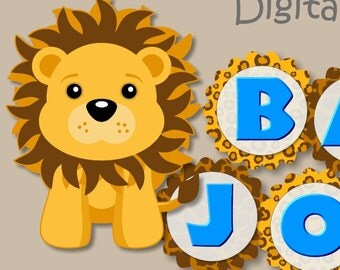 Blue Lion Baby Shower, First Birthday BANNER- Party Decoration - CUSTOM Name