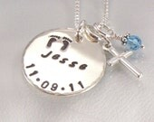 Personalized Mothers Necklace with Baby Feet and Cross Pendant - Name and Date of Birth Hand Stamped on Sterling Silver Disc - For Mom