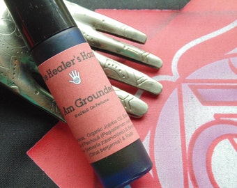 I Am Grounded - Base or Root Chakra Organic Roll On Perfume ~ 10 ml Cobalt Blue Glass ~ Enhanced with Reiki