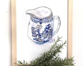 Vintage Blue Willow China Pattern Jug Drawing Print