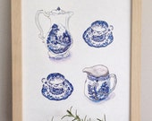 Vintage Blue China Pattern Tea Party