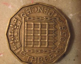 1958 United Kingdom, Three Pence