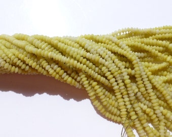 "Rhondelles. Korean Yellow JaDE Smooth Rhondelle Beads. Satin Finish 5 strand.  15"" 3.5 - 4mm  (JD125-5 )"