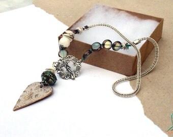 Art bead, bronze, heart pendant, Lesley Watt, Theaelements, white, green, lampwork bead, Czech glass, asymetrical,necklace by Esfera Jewelry