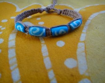 Kenyan Blue Batik Bone Hemp Bracelet / Anklet African Trade Bead Spiral Pattern